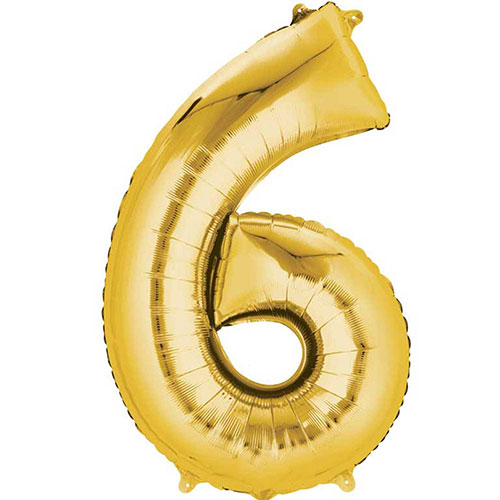 Gold Number 6 Air Fill Foil Balloon 40cm / 16 in Product Image
