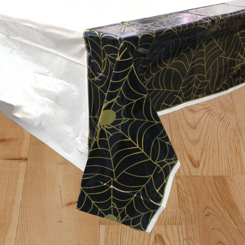 Gold Spider Web Halloween Plastic Tablecover 213cm x 137cm Bundle Product Image