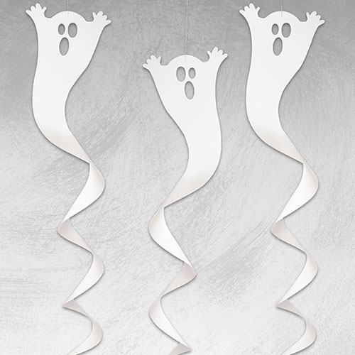 Halloween Ghost Hanging Swirl Decorations 82cm - Pack of 3