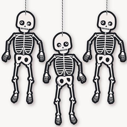 Halloween Skeleton Hanging Decorations 20cm - Pack of 3