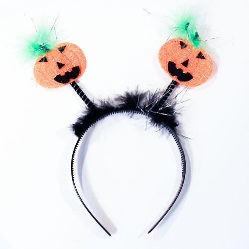 Pumpkin Head Boppers Adult Headband Halloween Fancy Dress