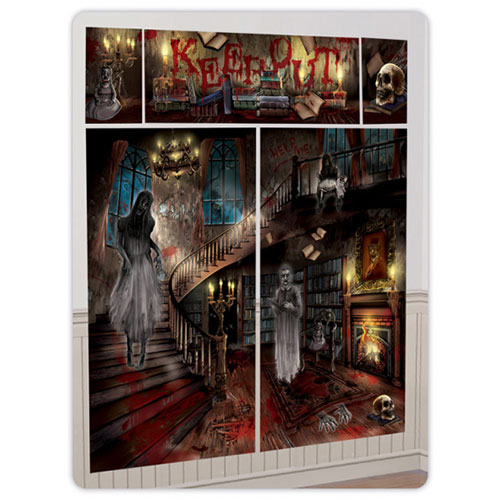 Haunted House Halloween Scene Setter Add-On Wall Decorating Kit