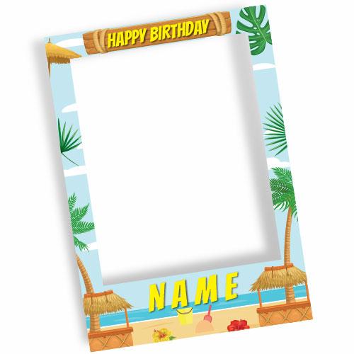 Hawaiian Beach Happy Birthday Personalised Selfie Frame Photo Prop