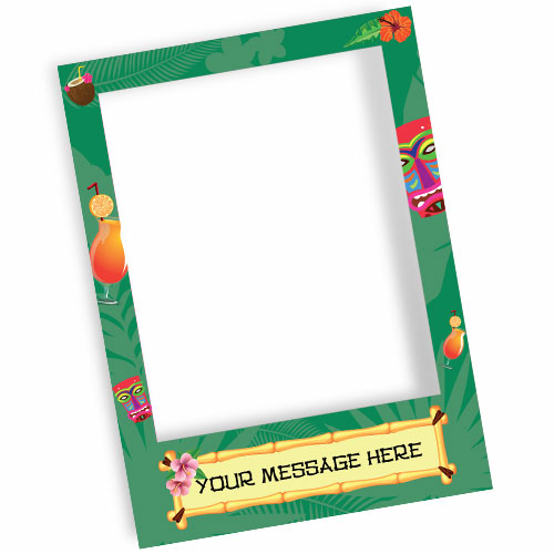 Hawaiian Tiki Style Personalised Selfie Frame Photo Prop