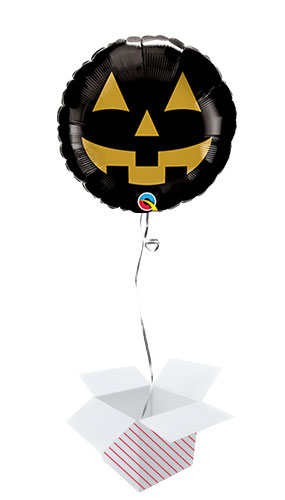 Jack Face Black And Gold Halloween Round Foil Helium Qualatex Balloon - Inflated Balloon in a Box