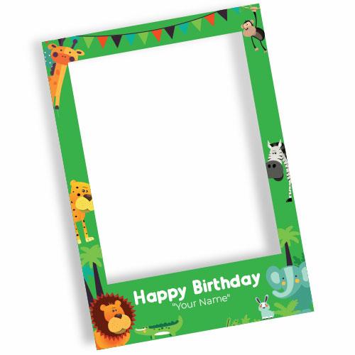 Jungle Happy Birthday Personalised Selfie Frame Photo Prop