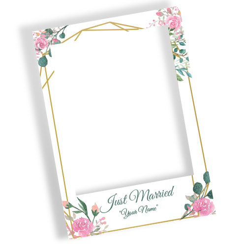 Just Married Pink Roses Personalised Selfie Frame Photo Prop