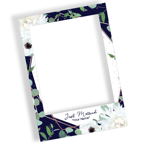 Just Married White Flowers Personalised Selfie Frame Photo Prop