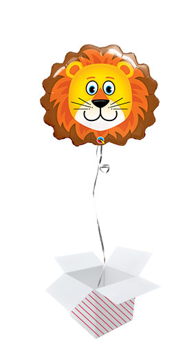 Lion Face Helium Foil Giant Qualatex Balloon - Inflated Balloon in a Box