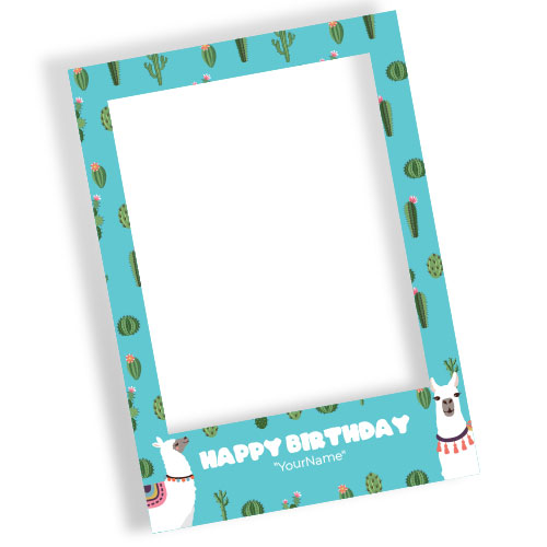 Llama Happy Birthday Blue Personalised Selfie Frame Photo Prop