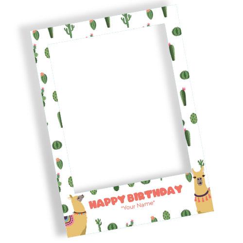 Llama Happy Birthday White Personalised Selfie Frame Photo Prop