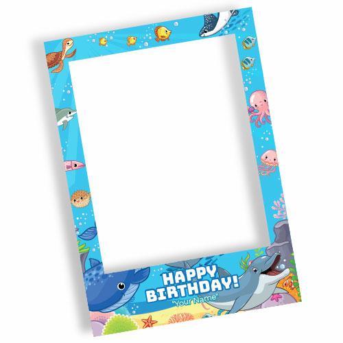 Ocean Party Happy Birthday Personalised Selfie Frame Photo Prop