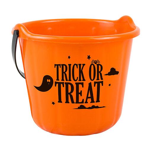 Orange Halloween Trick Or Treat Candy Bucket 18cm