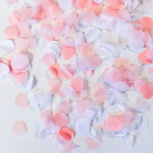 Pink And White Heart Shape Biodegradable Wedding Paper Confetti 7g