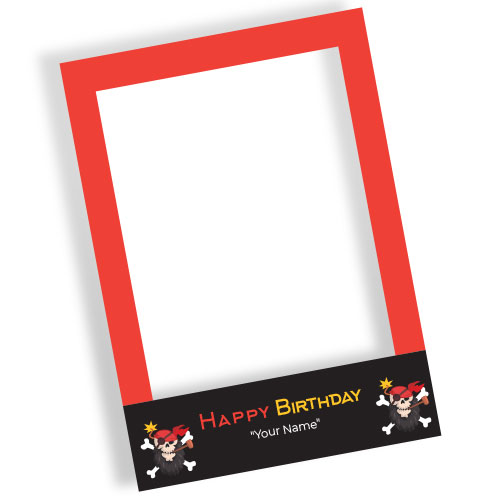 Pirate Fun Happy Birthday Personalised Selfie Frame Photo Prop