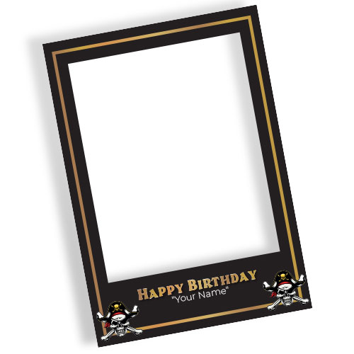 Pirate Gold Happy Birthday Personalised Selfie Frame Photo Prop