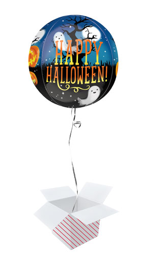 Pumpkins And Ghosts Halloween Orbz Foil Helium Balloon - Inflated Balloon in a Box Product Gallery Image