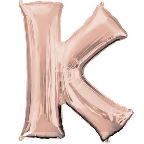Rose Gold Letter K Air Fill Foil Balloon 40cm / 16 in