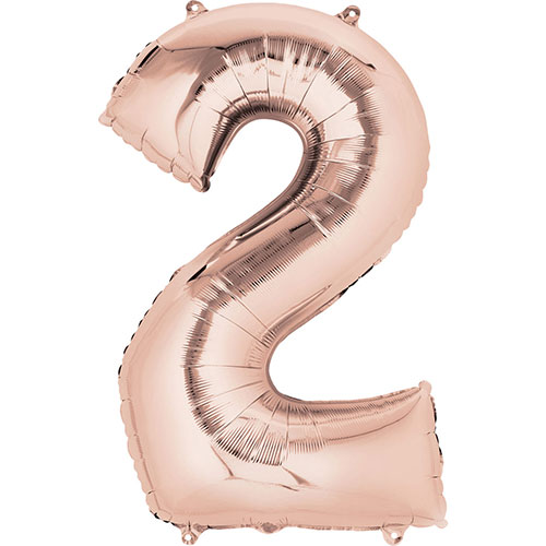 Rose Gold Number 2 Air Fill Foil Balloon 40cm / 16 in