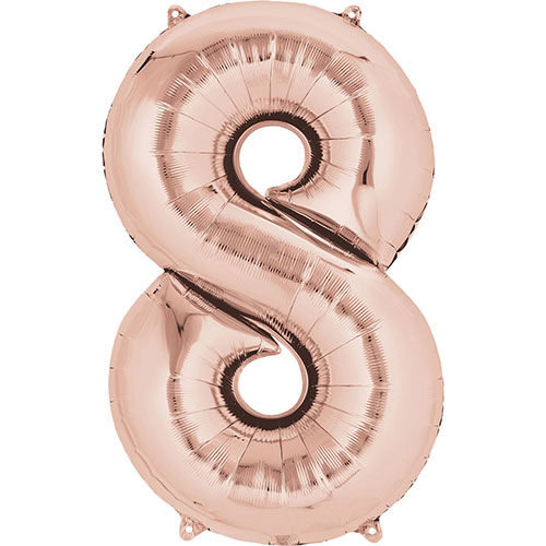 Rose Gold Number 8 Air Fill Foil Balloon 40cm / 16 in