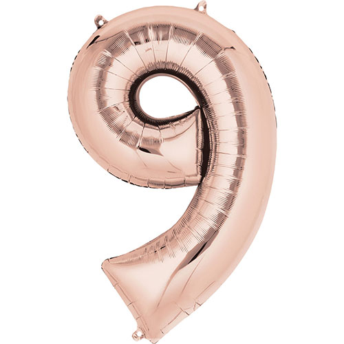 Rose Gold Number 9 Air Fill Foil Balloon 40cm / 16 in