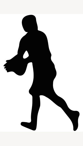 Rugby Player Ball Catch Silhouette PVC Lifesize Poster 182cm Product Image