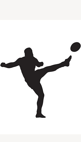 Rugby Player Ball Side Kick Silhouette PVC Lifesize Poster 182cm Product Image