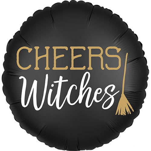 Satin Cheers Witches 2 Sided Halloween Round Foil Helium Balloon 45cm / 18 in Product Gallery Image