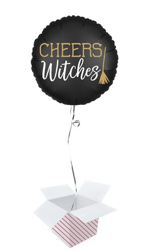Satin Cheers Witches 2 Sided Halloween Round Foil Helium Balloon - Inflated Balloon in a Box Product Gallery Image