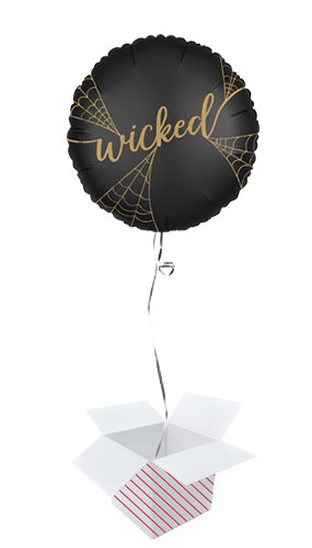Satin Wicked Witches 2 Sided Halloween Round Foil Helium Balloon - Inflated Balloon in a Box Product Gallery Image