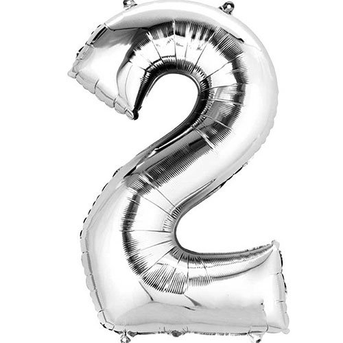 Silver Number 2 Air Fill Foil Balloon 40cm / 16 in