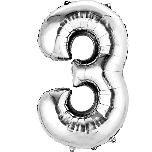 Silver Number 3 Air Fill Foil Balloon 40cm / 16 in Product Image