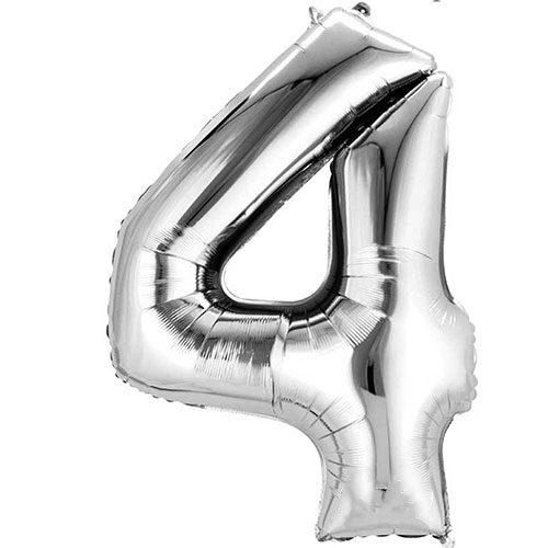 Silver Number 4 Air Fill Foil Balloon 40cm / 16 in Product Image