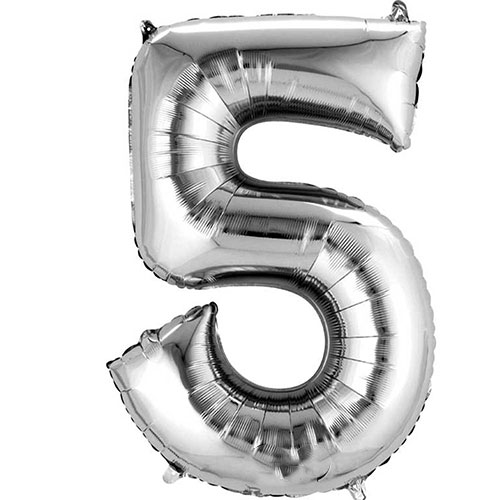 Silver Number 5 Air Fill Foil Balloon 40cm / 16 in