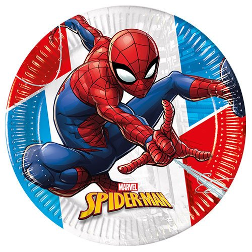 Spider-Man Compostable Round Paper Plates 23cm - Pack of 8