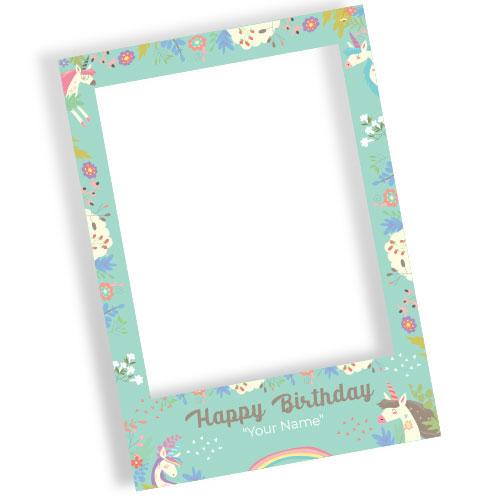 Unicorn Flowers Happy Birthday Personalised Selfie Frame Photo Prop