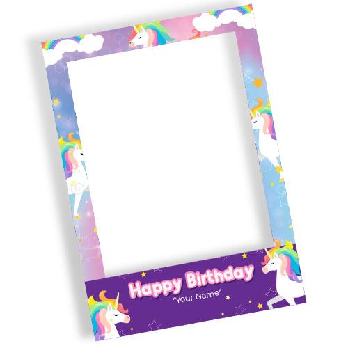 Unicorn Rainbow Happy Birthday Personalised Selfie Frame Photo Prop