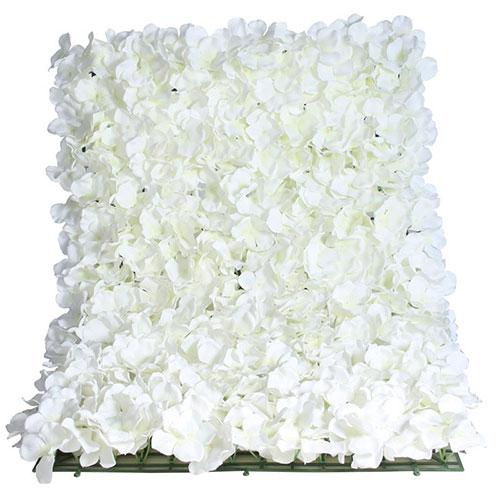 White Artificial Hydrangea Silk Flower Wall Panel 60cm x 40cm