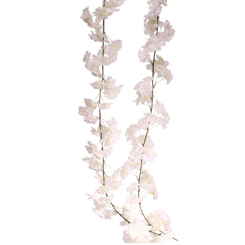 White Blossom Artificial Silk Flowers Garland 210cm Product Gallery Image