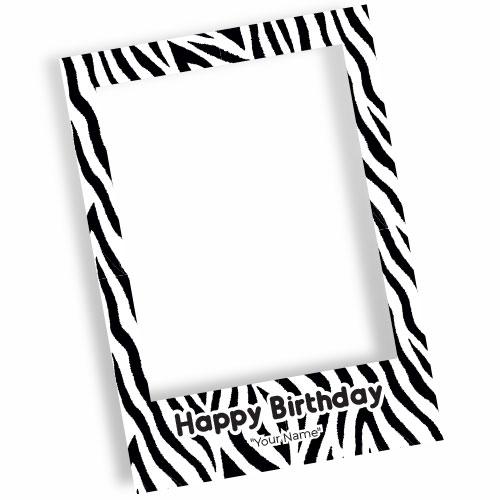Zebra Happy Birthday Personalised Selfie Frame Photo Prop