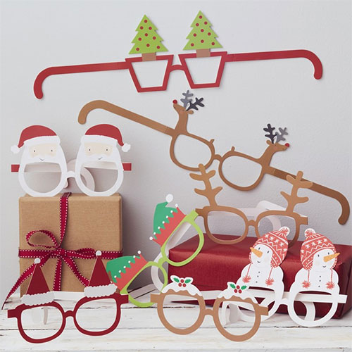 Assorted Novelty Christmas Paper Fun Glasses - Pack of 8