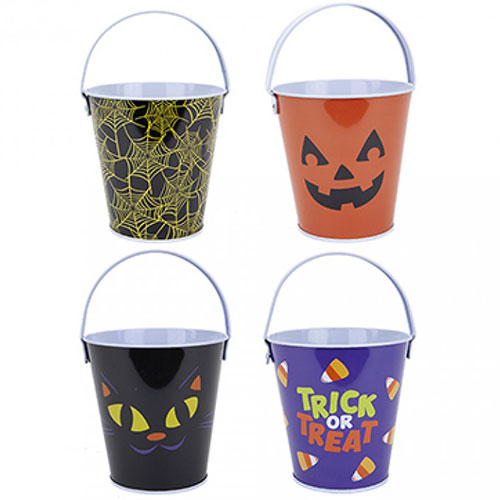 Assorted Printed Halloween Tin Candy Bucket 10cm