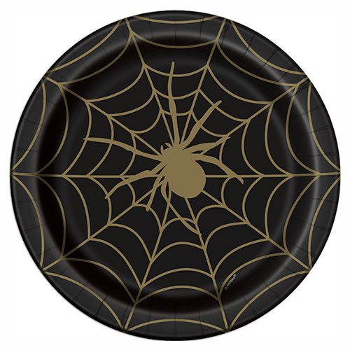 Gold Spider Web Halloween Round Paper Plates 22cm - Pack of 8