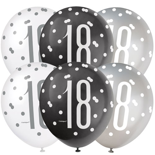 Black Glitz Age 18 Assorted Biodegradable Latex Balloons 30cm / 12 in - Pack of 6