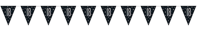 Black Glitz Age 18 Holographic Foil Pennant Bunting 274cm