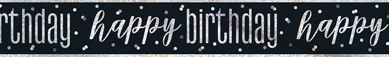 Black Glitz Happy Birthday Holographic Foil Banner 274cm Product Image