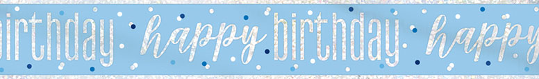 Blue Glitz Happy Birthday Holographic Foil Banner 274cm