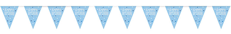 Blue Glitz Happy Birthday Holographic Foil Pennant Bunting 274cm