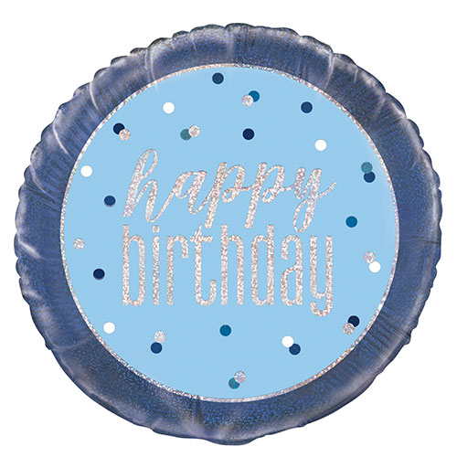 Blue Glitz Happy Birthday Holographic Round Foil Helium Balloon 46cm / 18 in