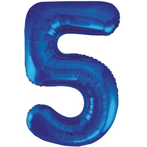 Blue Number 5 Supershape Foil Helium Balloon 86cm / 34 in  Bundle Product Image